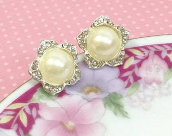 Pearl Wedding Earrings, Silver Rhinestone Flower Studs, Pearl Flower Studs, Statement Earrings, Wedding Jewelry, Glamorous Earrings  (SE4)