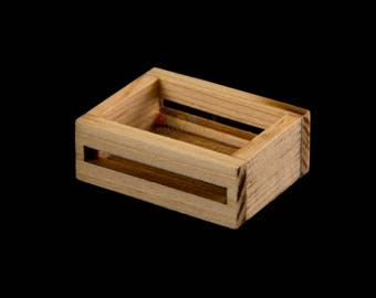Dollhouse Miniatures Wooden Fruit Tray Box - 1:12 Scale