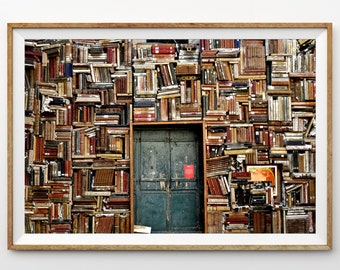 Old Bookstore and Door in Italy Library Print Photograph