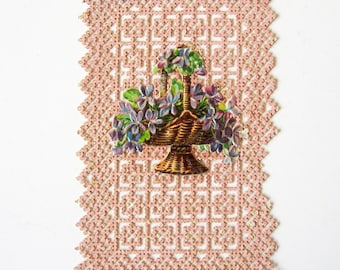 French Paper Lace Holy Card. Relief Antique