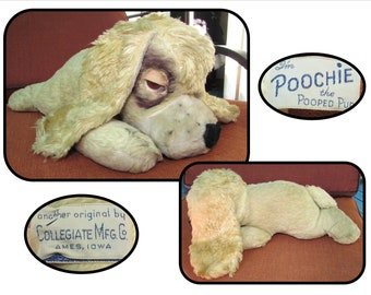 "Vintage Stuffed Blonde Plush Toy, "" Poochie the Pooped Pup "" Dog by Collegiate Mfg, 50s"