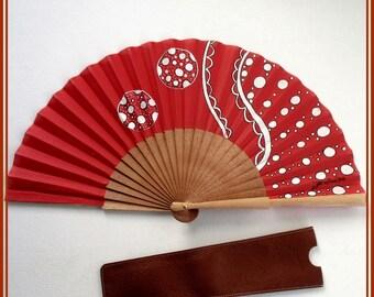 Hand held fan Modern handfans Spain folding fan Gift for bride Artisan fan illustration fan Handfan for wedding red fan Wood folding fan