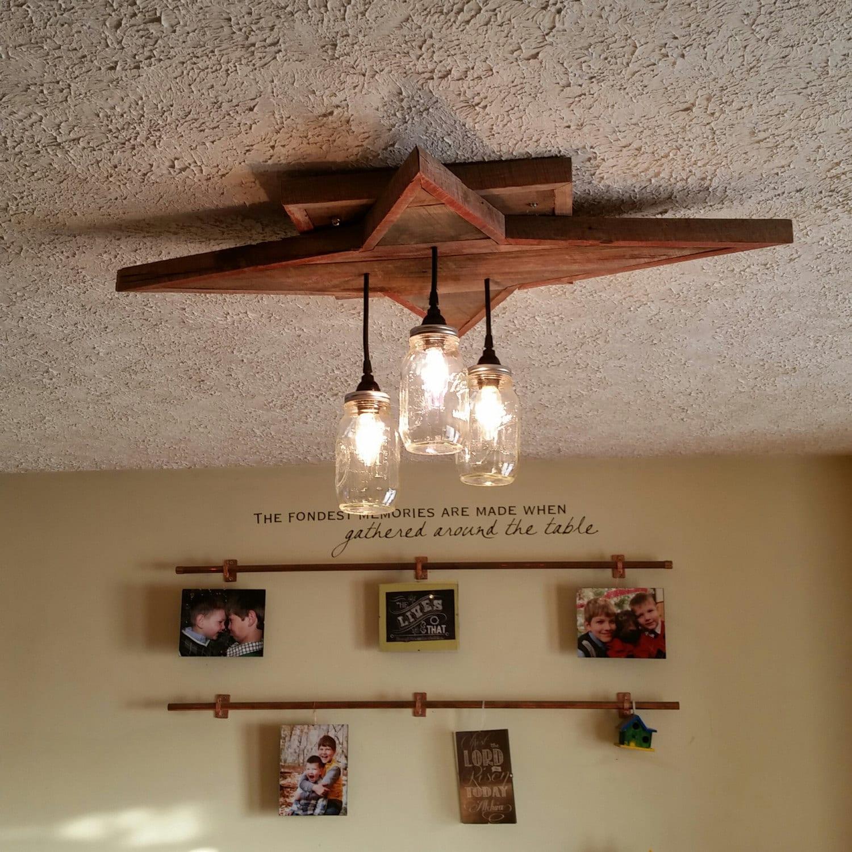 Reclaimed Wood Lighting Star Shape Mason Jar Chandelier