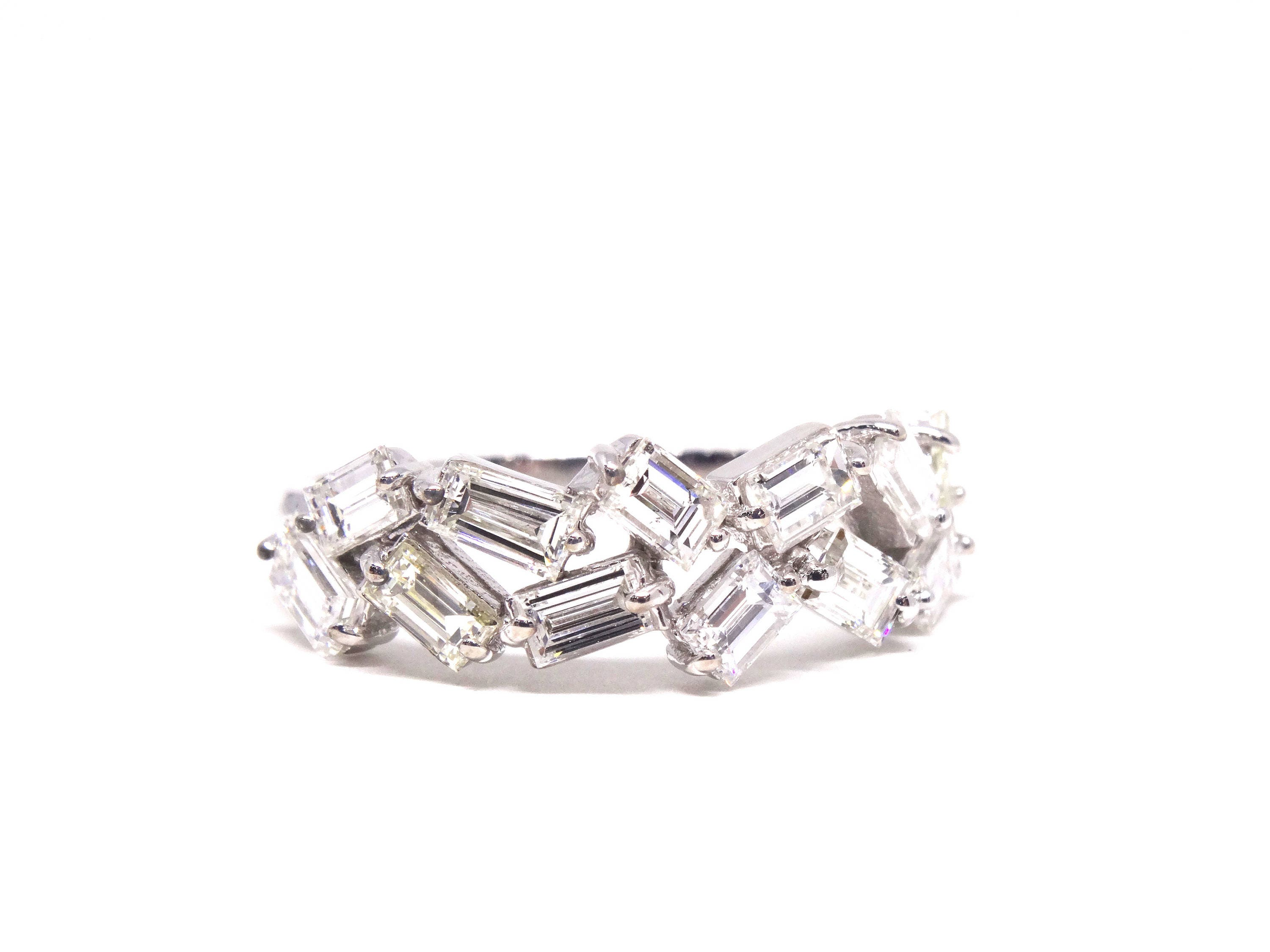 baguette five band bands cushion stone halo wedding daussi henri anniversary diamond