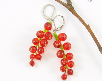 Red Currant Earrings Currants drop earrings Romantic red berry Red currant dangle earrings Currants earrings Currant berry Jewelry natural