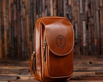 Set of 5 Personalized Leather Toiletry Bag, Dopp Kit, Leather Shaving Kit, Groomsmen, Father's Day Gift, Boy Friend Gift Travel Shaving Bag