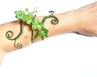 Green Ivy arm wrap bracelet cuff woodland fairy poison ivy costume