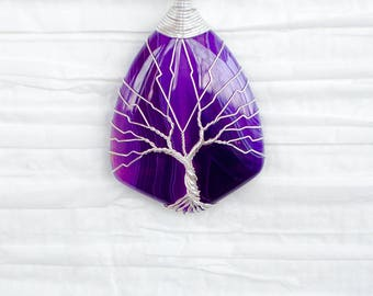 Tree of Life  silver wire wrapped Purple Agate pendant