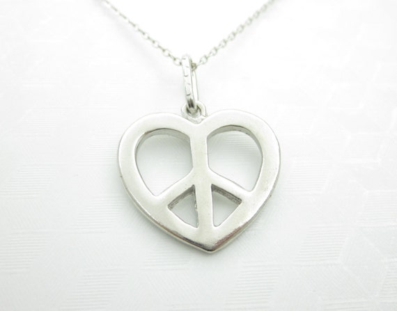 Peace Sign Necklace Love And Peace Silver Heart Peace Sign