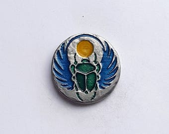 Scarab Enameled Pewter Lapel Pin or Magnet
