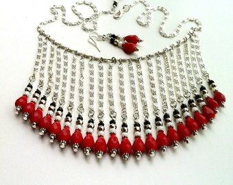 Red Black Crystal Bib Necklace, Red Crystal Statement Necklace, Silver Bib Chain Necklace, Crystal Statement Bib Red Necklace, RED Bib Italy