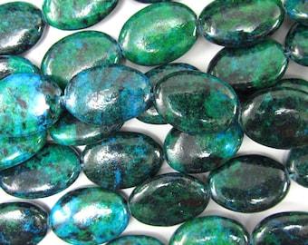 "18mm blue green azurite flat oval beads 15.5"" strand 35062"