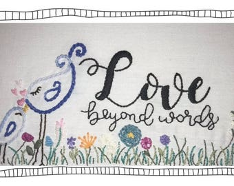"Hand Embroidery Design Pattern  PDF Hoop ""Love Beyond Words"" Flowers  Instant Download Printable Hand Embroidery Pattern"