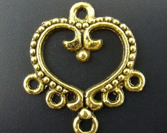 Ornate Heart Connector, Earring Finding, Antique Gold Finish (CON-G-1), 10 count