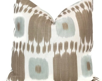 Aqua Tan Kandira Ikat Decorative Pillow Covers 18x18, 20x20 or 22x22, 14x20 or 12x24  Schumacher pillow, accent pillow