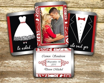 Hershey Mini Candy Wrappers - Wedding Wrappers, Red and White Wedding Favors, Personalized Wedding, Wedding Photo Wraps, Photo Favors