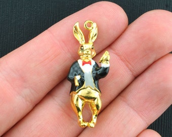 White Rabbit Charms Antique Gold Tone with Enamel Detailing - GC357