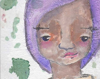 "As I am, an original 4x6"" Nixie mixed media painting"