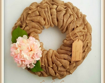 Spring Wreaths-Burlap Wreath-Burlap Hydrangea Wreath-Spring Door Wreath-Spring Hydrangea Wreath-Front Door Wreaths-Front Door Spring Wreath