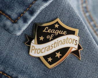 black procrastinator pin ,hard enamel pin, enamel pin set, procrastinate, crafty enamel pin, procrastinator enamel pin, lapel pin