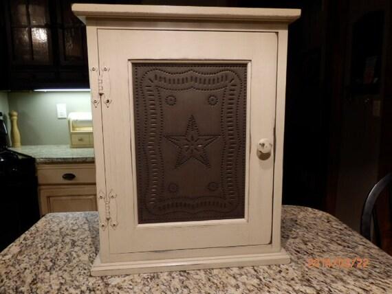 Primitive Spice / Medicine Cabinet With Two Adjustable Shelf