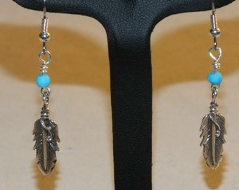 Sterling Silver Feather and Turquoise Earrings