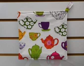 """556 Tea Pots and Tea Cups Hot Pad, Pot Holder, Fabric Trivet, Quilted Heat Resistant Backing, 7-3/4"""" by 7-3/4"""" Square"""