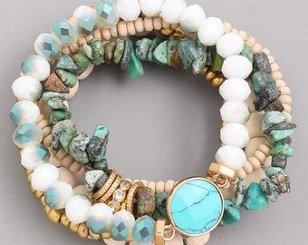 Multi Beaded Gem Bracelet Set