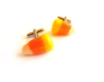 Real Candy Corn Cufflinks -Sterling Silver