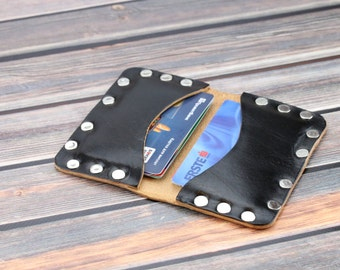 Black leather riveted wallet Personalized leather card wallet Leather credit card organizer Slim wallet mens Goth wallet Xmas gift for him
