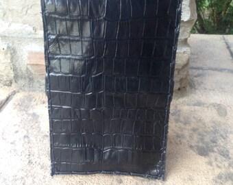 Black croc embossed golf scorecard holder or yardage book cover