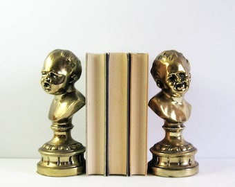 Laughing and Crying Baby Statues - 2 Vintage Busts on Pedestals - Gold Metal Sculpture Heavy Bookends - Brass Home Decor - Hollywood Regency