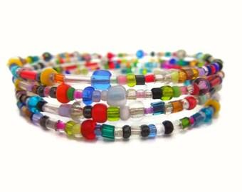 Colorful Beaded Wrap Bracelet - Glass Beads - Handmade - Homemade Jewelry - Silver Plated