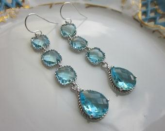 Aquamarine Earrings Blue Aqua Earrings - 4 tier earrings - Sterling Silver - Bridesmaid Earrings - Wedding Earrings - Bridal Earrings
