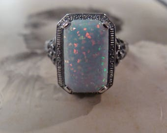 Lovely Sterling Filigree Opal Ring  Size 8.75