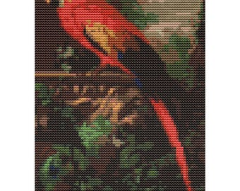 Bird Cross Stitch Kit, A Scarlet Macaw in a Landscape MINI, Embroidery Kit, Art Cross Stitch, Counted Cross Stitch, Jakob Bogdany
