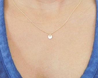 Tiny Disc Necklace, Simple Necklace, Gold Fill, 6mm Disc, Gold Necklace, Everyday Necklace, Dainty Necklace, Minimalist Gold Necklace