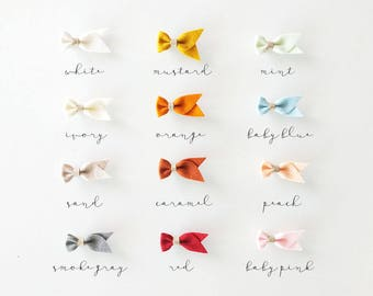 100% Wool Felt + Leather Bow | Felt Bow Hair Clip | Leather Hair Clip | Baby Bow Hair Clip | Baby Hair clip | Baby Girl Bow | Variety colors