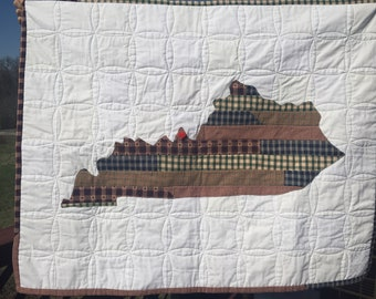 Kentucky Pride State Quilt, Lap throw, Baby Quilt, Blanket, Gift, KY, Handmade