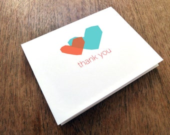 Printable Thank You Card - Thank You Card Template - Thank You PDF Download - Two Hearts - Blue and Red Heart - Overlaping Heart Thank You