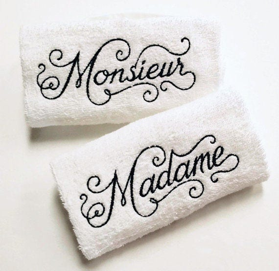 His & Her French Towel Set - Madame Monieur Towels - French bathroom decor  - French Towels - Embroidered Towels - His and Her Bathroom