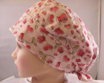 Women's Pixie Scrub Hat Hearts and Roses