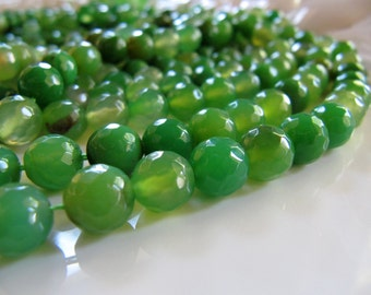 8mm AGATE Beads in Spring Green Shades, Round, Faceted, 47 Pcs,, Slightly Translucent Gemstone Beads