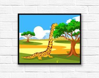 Iguana, Giraffe, Children's Book Art, Wall Art, Nursery Room Art, instant download, digital print, digital art, 8x10