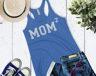 Cute Mom 2 Tank. Mom of Two Tank Top. Mother of 2 Tank. Mom Squared shirt. Mother's Day Gift For Mom. New Mom Gift.