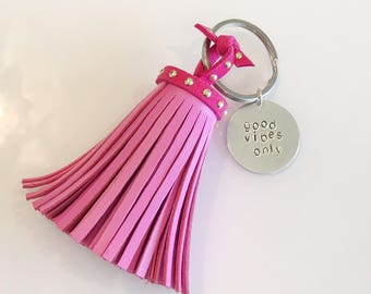 Good vibes only leather tassel key chain hand stamped key chain gifts for her christmas mantra positivity