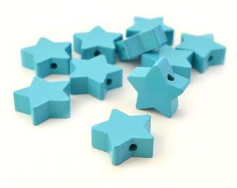 1 Wood Turquoise star bead