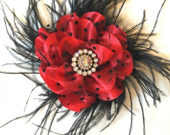 Red and Black Flower Hair Clip, Dance Costume Hair Piece, Teal Black Flower Hair Clip, Feather Hair clip, Bridal Flower Hair Clip