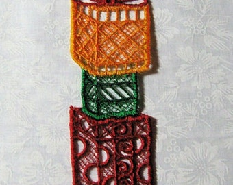 Lace Bookmark, red, yellow and green Christmas Packages, machine embroidery