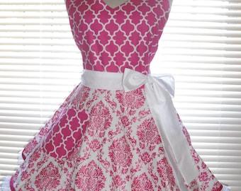 Fifties Style Retro Apron Hot Pink Shimmering Damask Hot Pink Apron Circular Flirty Skirt Satin Edge Organza Trimming